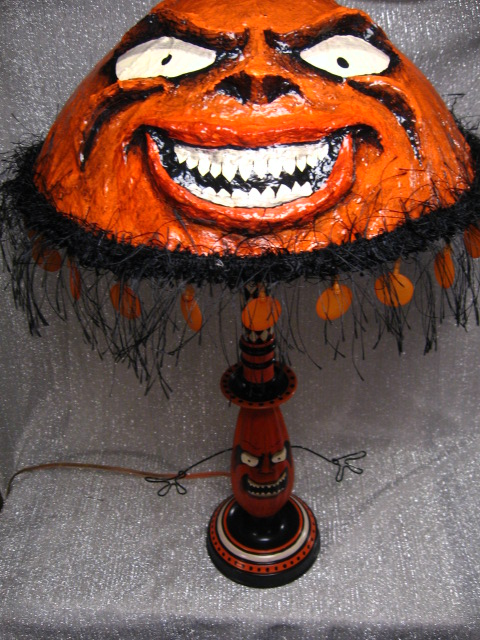 One of a kind hand painted vintage style halloween folk art lamp